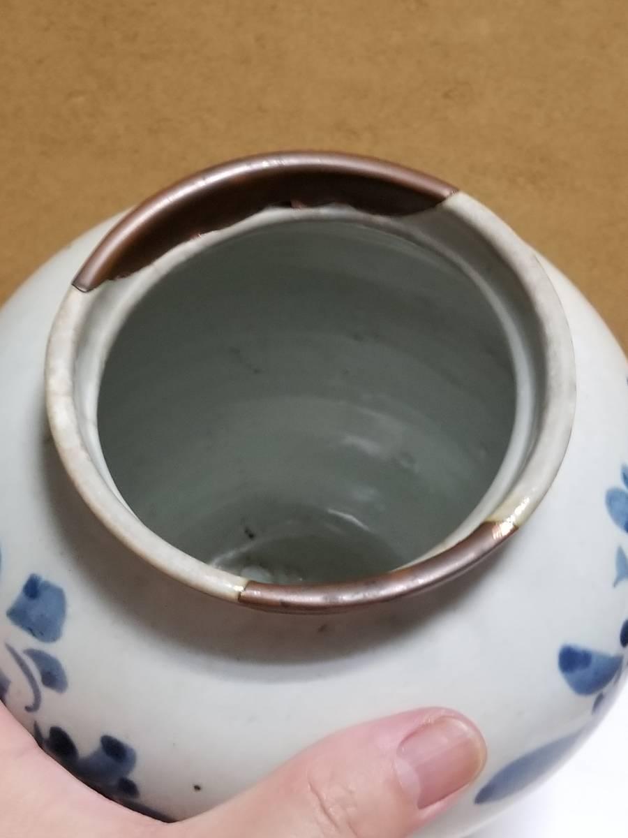 【哲】特別出品:上がりの良い李朝白磁染付花文立壷(18世紀末) _画像4