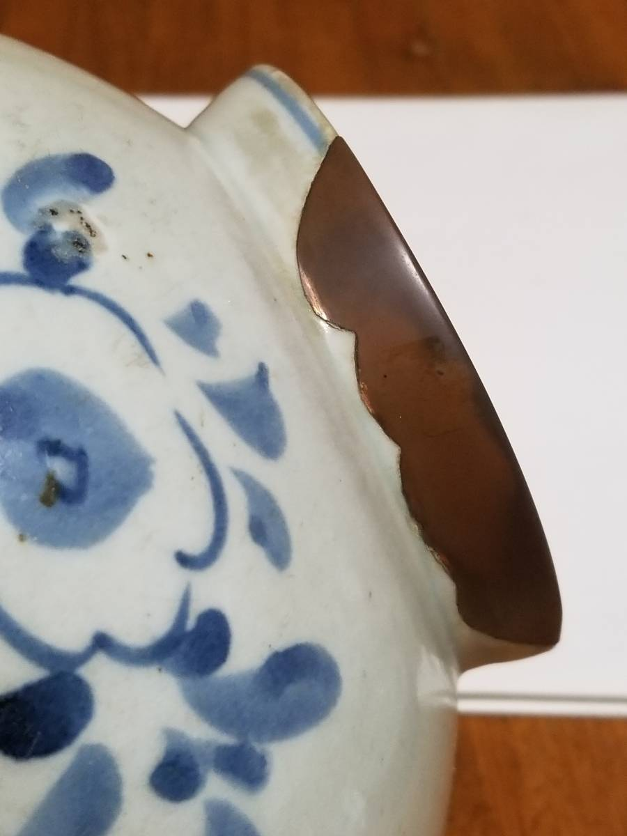 【哲】特別出品:上がりの良い李朝白磁染付花文立壷(18世紀末) _画像5
