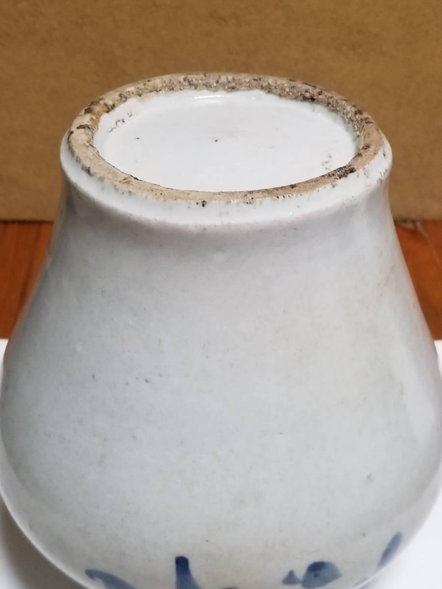 【哲】特別出品:上がりの良い李朝白磁染付花文立壷(18世紀末) _画像6