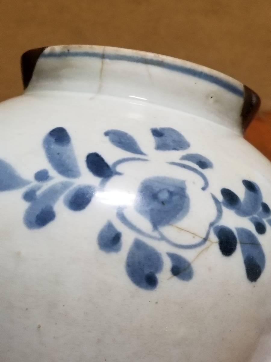 【哲】特別出品:上がりの良い李朝白磁染付花文立壷(18世紀末) _画像8