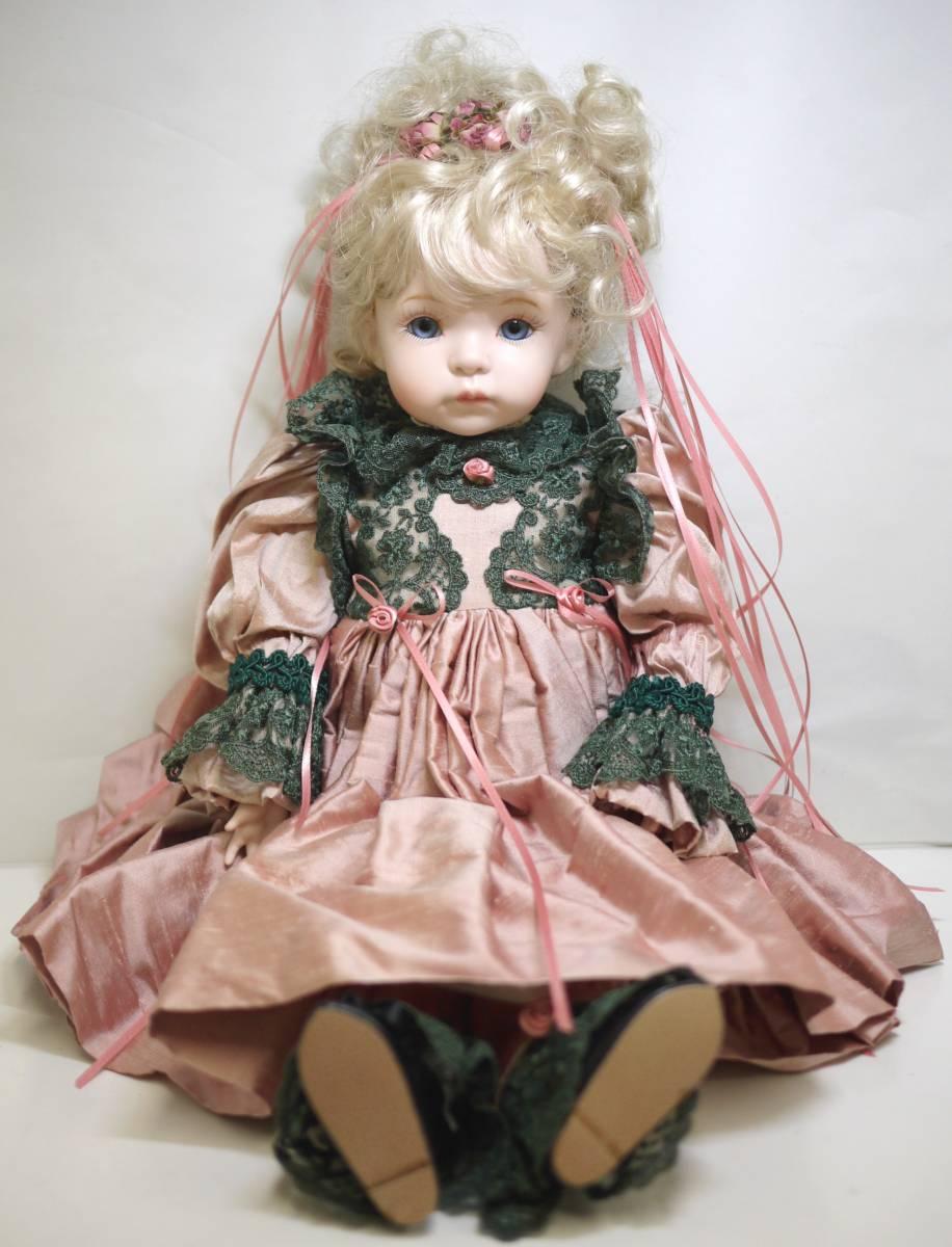 7*フランス人形 西洋人形 レトロ ビスク人形 女の子 Dalm97 MNO レース ドレス 木製 約52cm 置物 ディスプレイ アンティーク 骨董 1円から_画像3