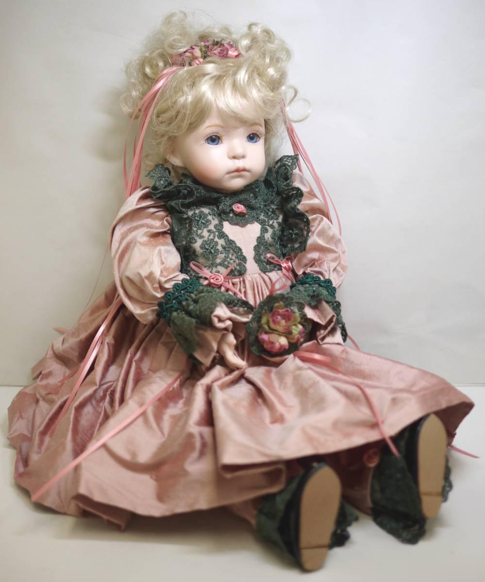 7*フランス人形 西洋人形 レトロ ビスク人形 女の子 Dalm97 MNO レース ドレス 木製 約52cm 置物 ディスプレイ アンティーク 骨董 1円から
