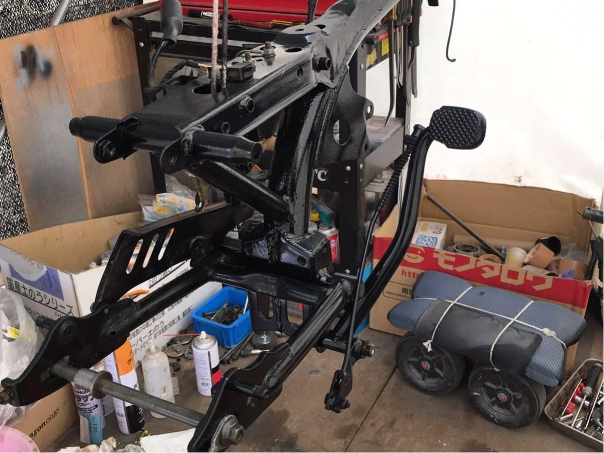 モンキー ゴリラ Z50J フレーム 書類有り 塗装済み 6V 4L スイングアーム メインハーネス ブレーキペダル 電装品 チェーンカバー_画像6