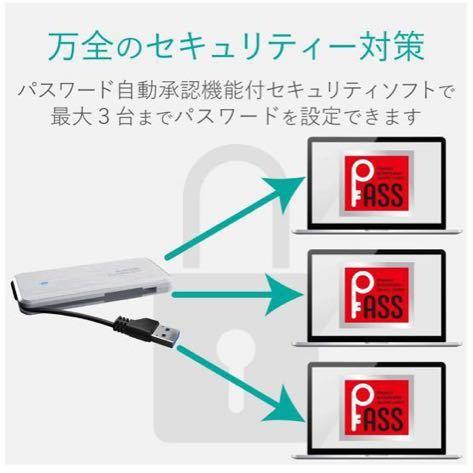 ケーブル収納型外付けポータブルSSD 960GB エレコム ELECOM ESD-EC0960GWH ホワイト_画像5