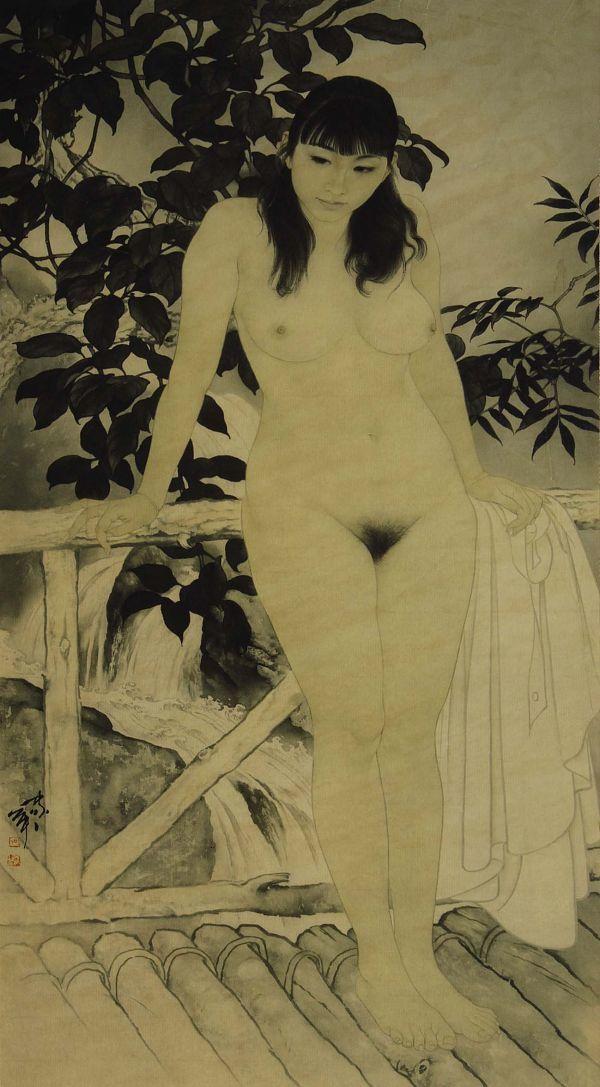 6004_J 中国美術 何家英「幽谷 裸婦画」彩色 工芸画 まくり 美人画 女性画 人物画 検:中国現代美術 天津