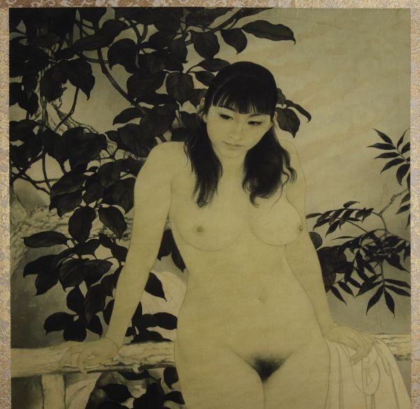 6004_J 中国美術 何家英「幽谷 裸婦画」彩色 工芸画 まくり 美人画 女性画 人物画 検:中国現代美術 天津_画像4