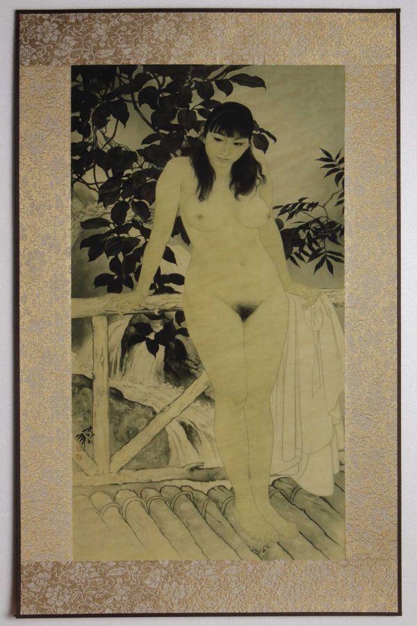 6004_J 中国美術 何家英「幽谷 裸婦画」彩色 工芸画 まくり 美人画 女性画 人物画 検:中国現代美術 天津_画像6