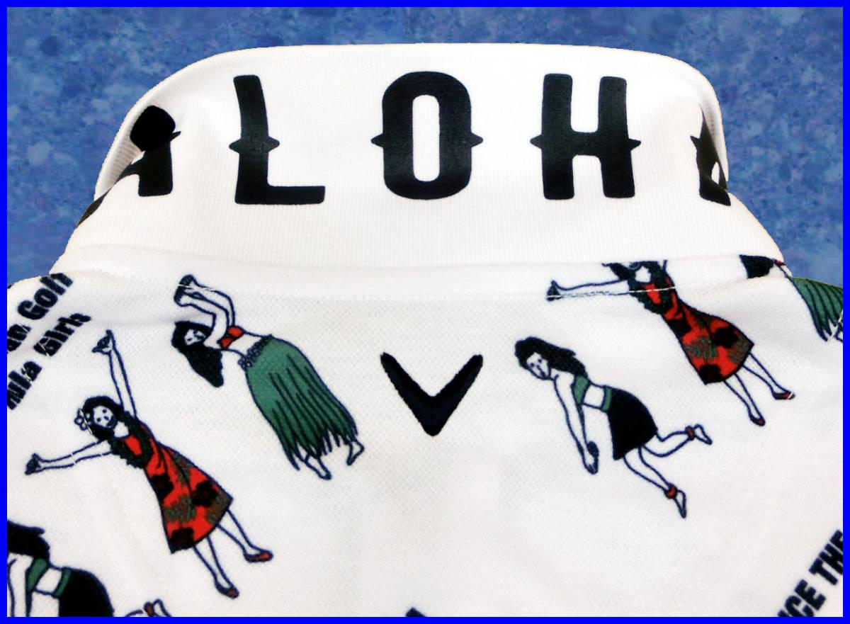 [正規新品]キャロウェイゴルフポロシャツCallaway■フラガール柄プリント■速乾UVカット半袖 鹿の子■M白ホワイト■定価:14,040円_画像4