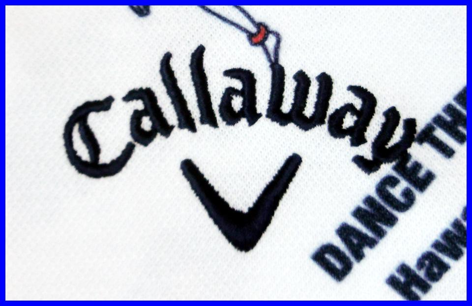 [正規新品]キャロウェイゴルフポロシャツCallaway■フラガール柄プリント■速乾UVカット半袖 鹿の子■M白ホワイト■定価:14,040円_画像5