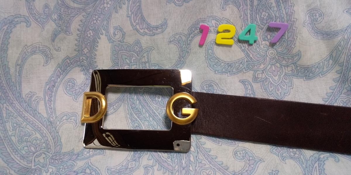 1247 ドルチェ&ガッバーナ DG ロゴつきシルバースクエアバックル 焦げ茶色レザー ベルト イタリア ミラノ サイズ 80_画像4