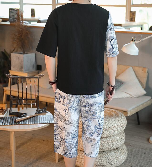 夏新品ジャージメンズ上下セット和服着物 麻綿セットアップ 花柄 切替半袖Tシャツ ショートパンツ 部屋着カジュアル サイズ選択白M~5XL_画像3
