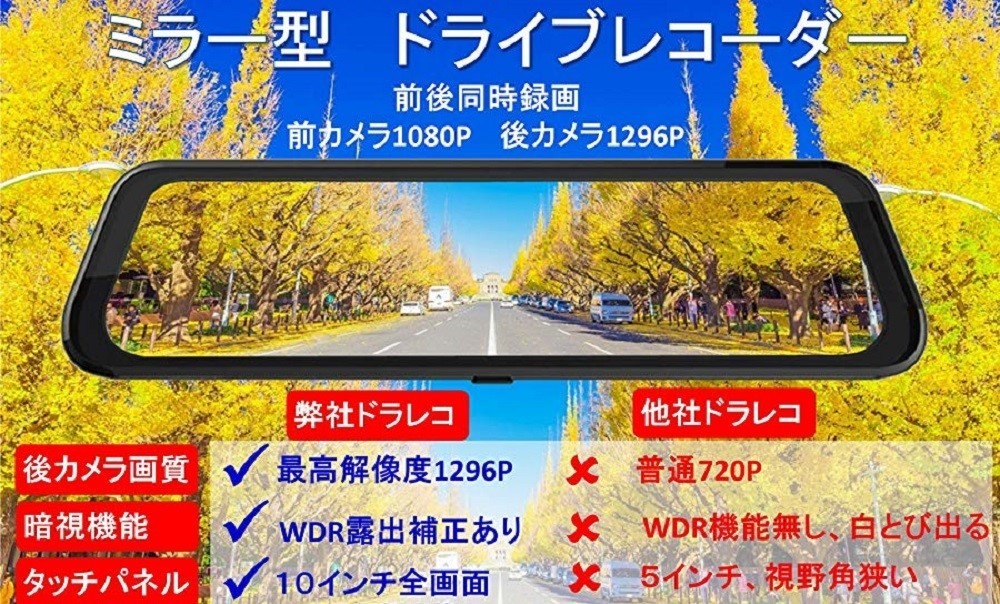 送料無料 32GB SDカード付 ドライブレコーダー G1013 タッチパネル9.66インチ ミラー型 前後カメラ LED信号機対応フルHD 日本製説明書 新品_画像9