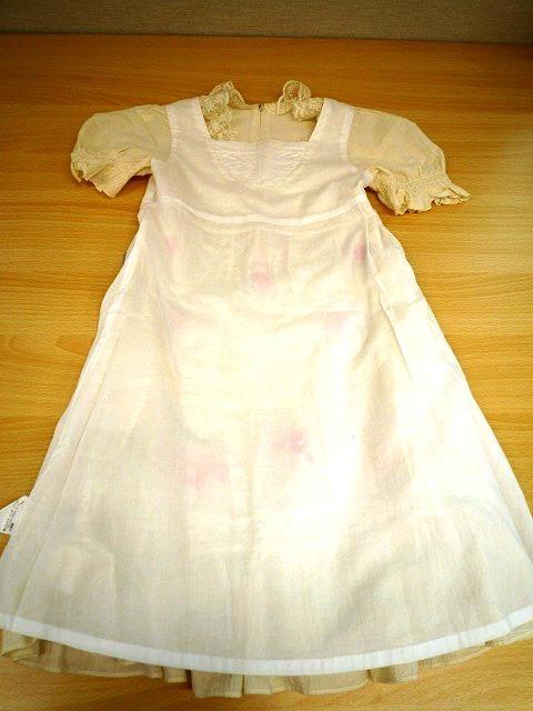 mezzo piano メゾピアノ 美品 半袖 ワンピース バラ ロゴ刺繍 レース フリル キナリ色 サイズ 130_袖と衿以外綿の裏地です。