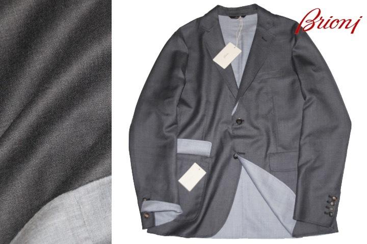 新品 68万【ブリオーニ】高級仕立て バージンウール100%●差し色 一枚仕立て●超軽量 ジャケット●グレー×ライトブルーグレー M