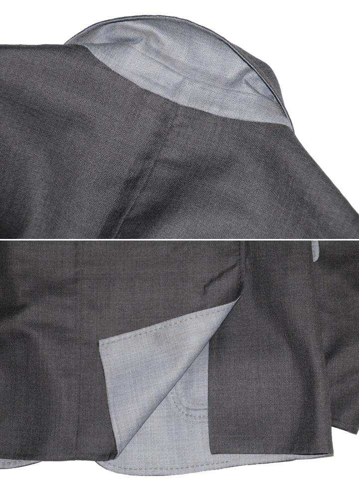 新品 68万【ブリオーニ】高級仕立て バージンウール100%●差し色 一枚仕立て●超軽量 ジャケット●グレー×ライトブルーグレー M_画像3