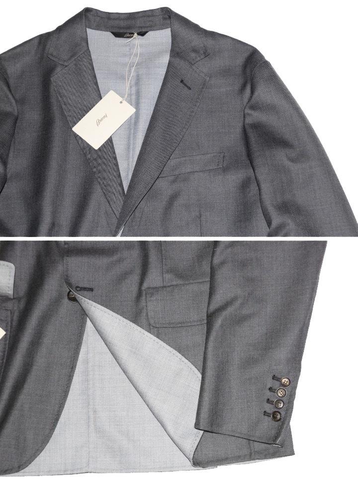 新品 68万【ブリオーニ】高級仕立て バージンウール100%●差し色 一枚仕立て●超軽量 ジャケット●グレー×ライトブルーグレー M_画像2