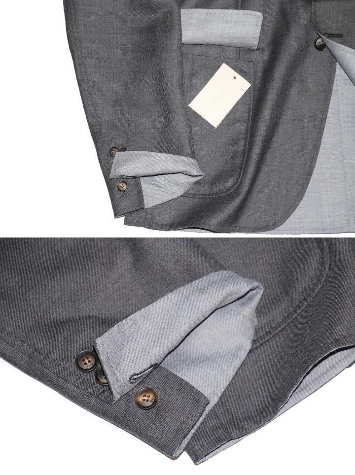 新品 68万【ブリオーニ】高級仕立て バージンウール100%●差し色 一枚仕立て●超軽量 ジャケット●グレー×ライトブルーグレー M_画像4