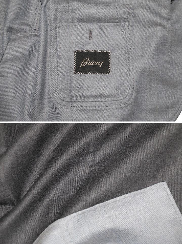 新品 68万【ブリオーニ】高級仕立て バージンウール100%●差し色 一枚仕立て●超軽量 ジャケット●グレー×ライトブルーグレー M_画像6