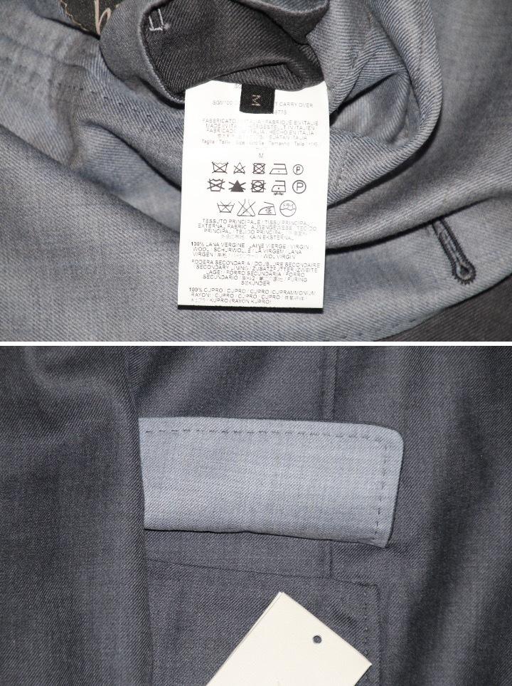 新品 68万【ブリオーニ】高級仕立て バージンウール100%●差し色 一枚仕立て●超軽量 ジャケット●グレー×ライトブルーグレー M_画像8