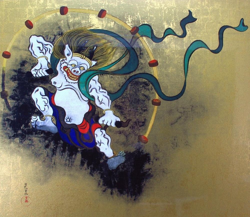 尾形光琳  『風神雷神図屏風』  ジクレー・シルクスクリーン 複製版画  金箔加工_画像3