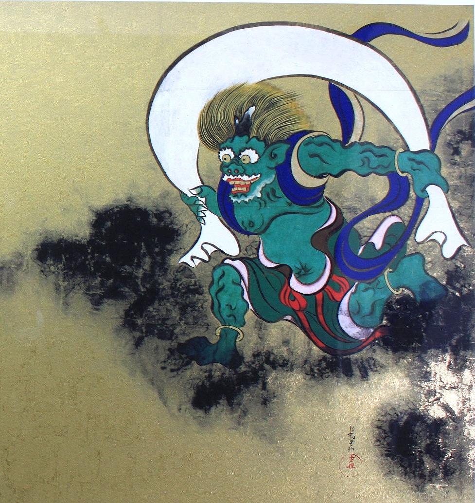 尾形光琳  『風神雷神図屏風』  ジクレー・シルクスクリーン 複製版画  金箔加工_画像4