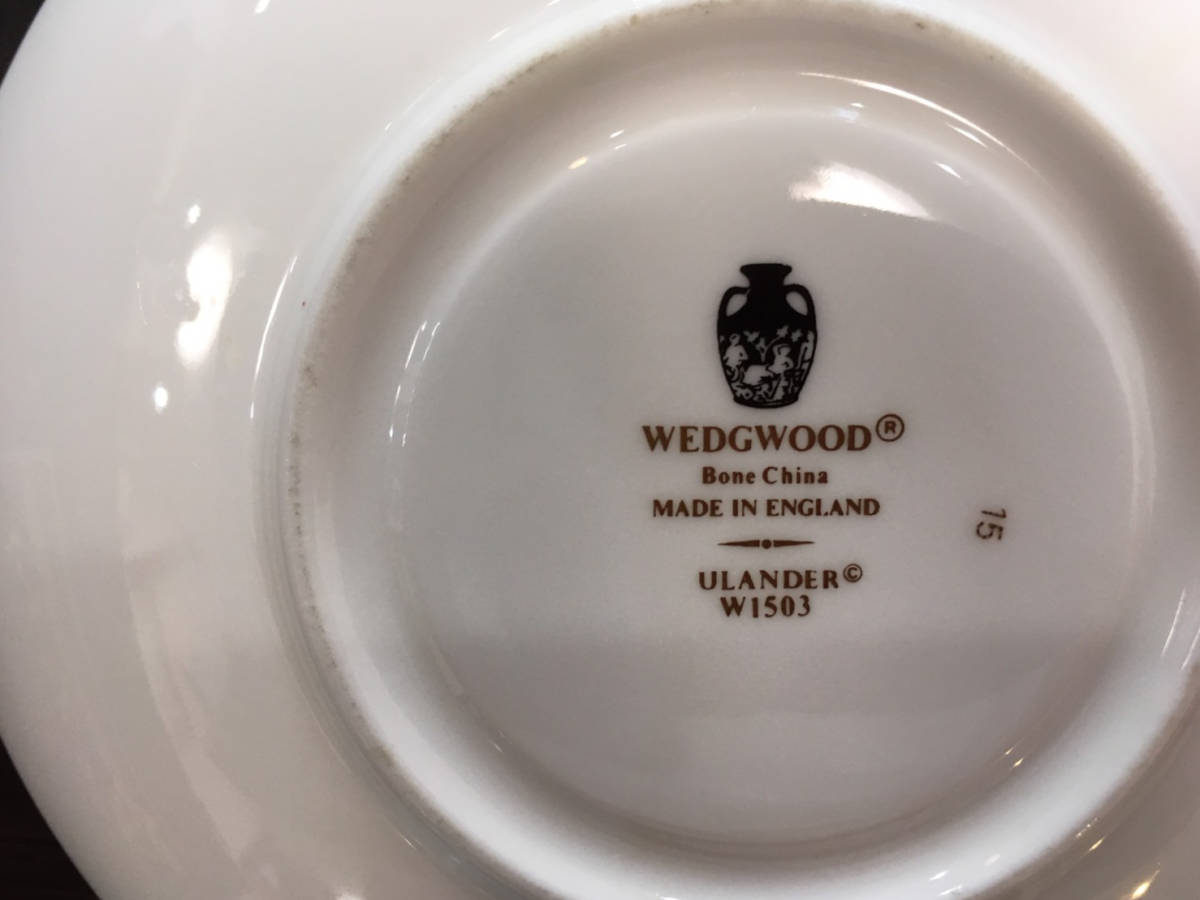 Wedgwood ウェッジウッド☆ユーランダー パウダーターコイズ&パウダールビー カップ&ソーサー(リー)セット_画像4