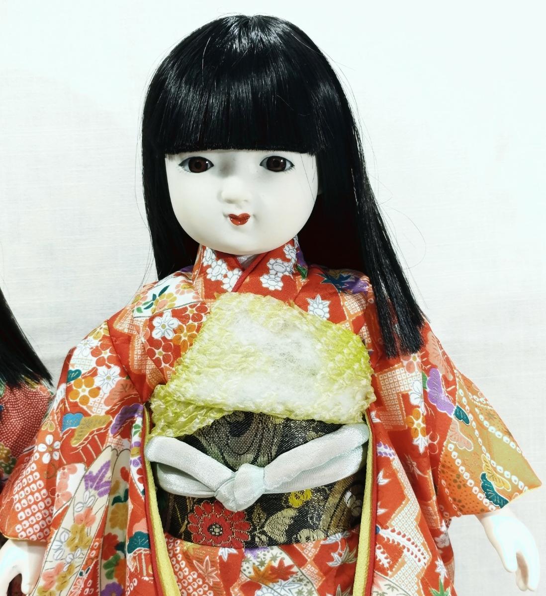 木製スタンド付き市松人形2体  日本人形 _画像3