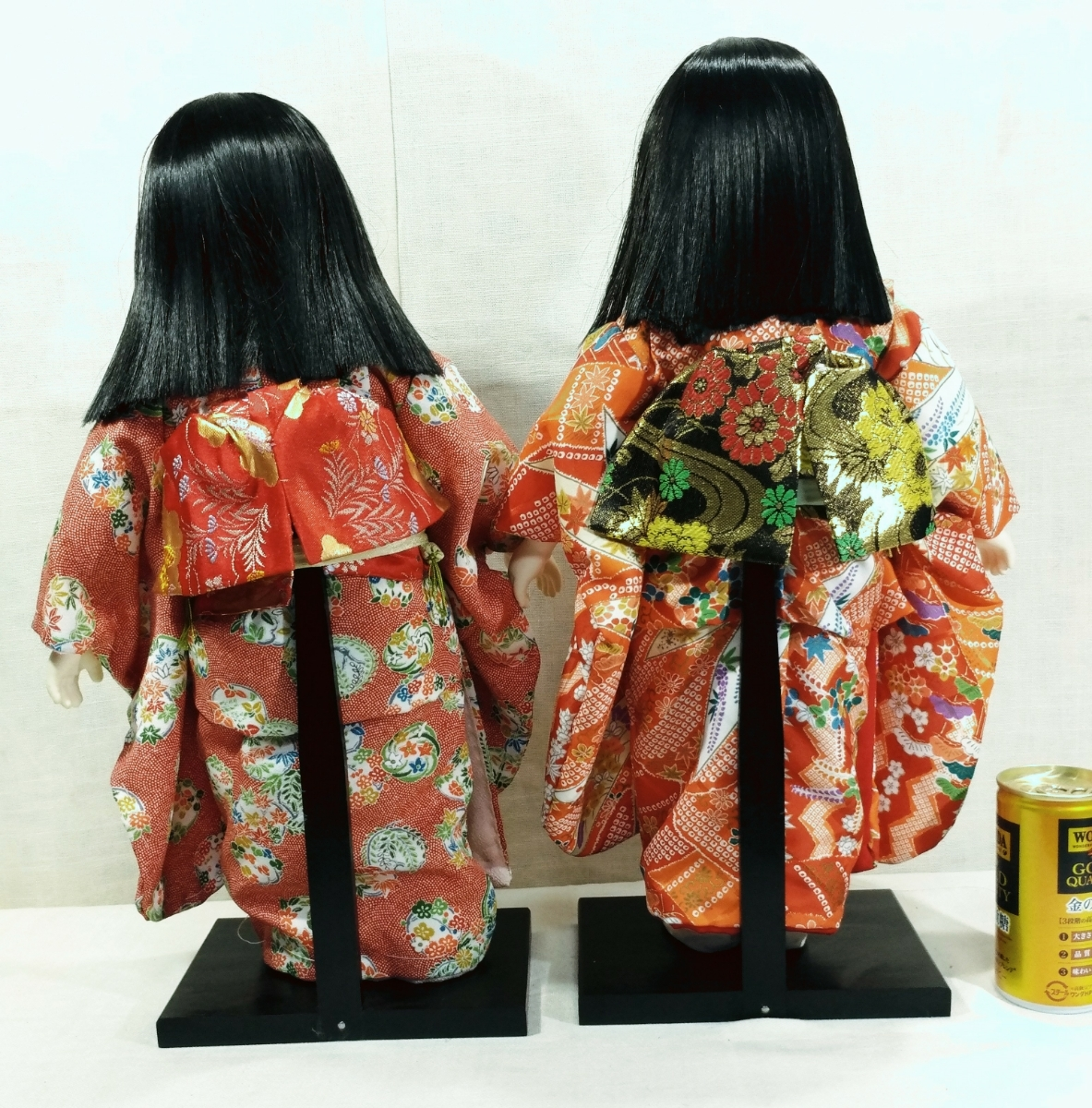 木製スタンド付き市松人形2体  日本人形 _画像7
