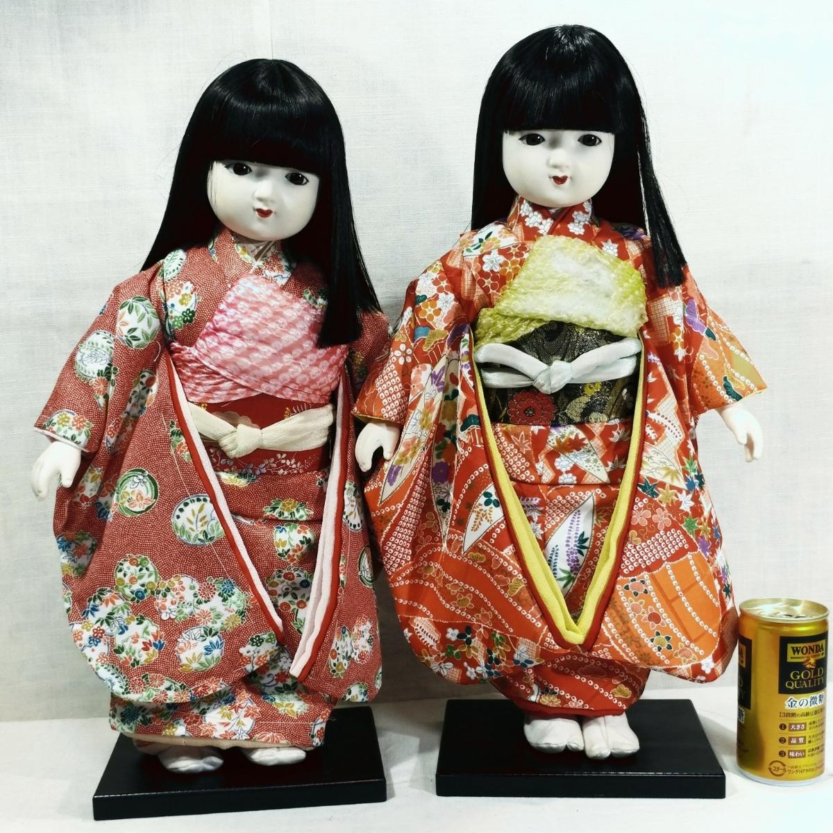 木製スタンド付き市松人形2体  日本人形 _画像2
