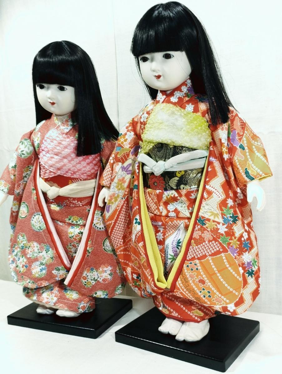 木製スタンド付き市松人形2体  日本人形 _画像6