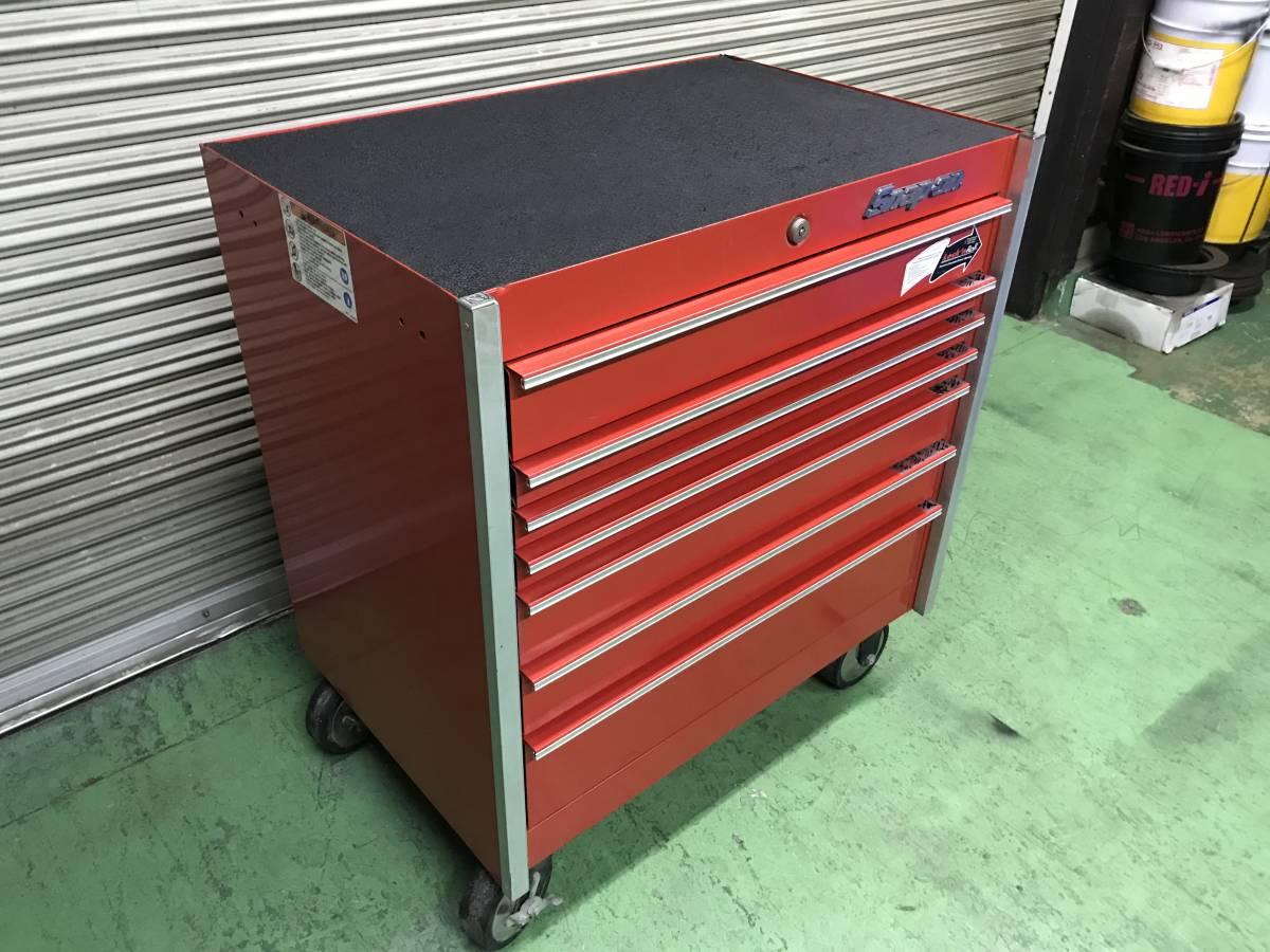 最落無 スナップオン 7段 ロールキャブ 工具箱 赤 KRL756A SNAP-ON 鍵有 中古 キャビネット ツールボックス 収納 ロックンロール ガレージ_画像3