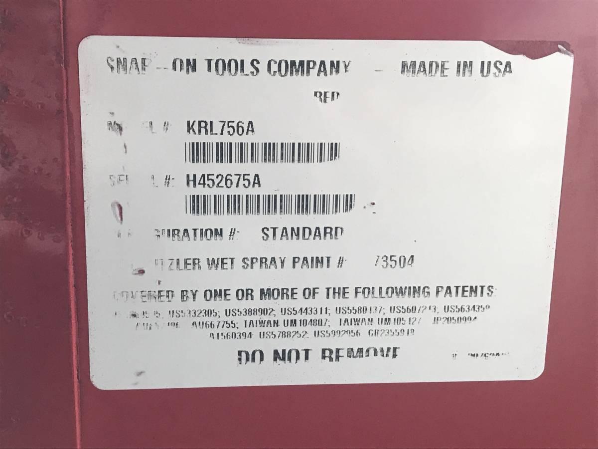 最落無 スナップオン 7段 ロールキャブ 工具箱 赤 KRL756A SNAP-ON 鍵有 中古 キャビネット ツールボックス 収納 ロックンロール ガレージ_画像10