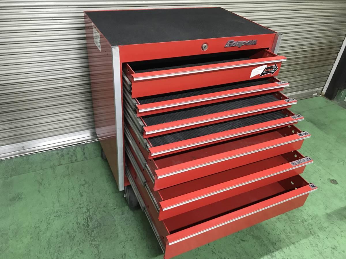 最落無 スナップオン 7段 ロールキャブ 工具箱 赤 KRL756A SNAP-ON 鍵有 中古 キャビネット ツールボックス 収納 ロックンロール ガレージ_画像2