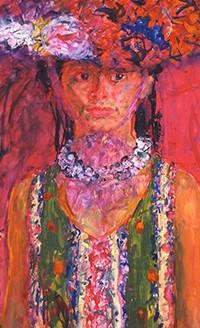 宮本三郎 《(婦人像)》 1969年頃 額装  ともかく出色の出来栄え、宮本の人物画は天下一品です_画像5