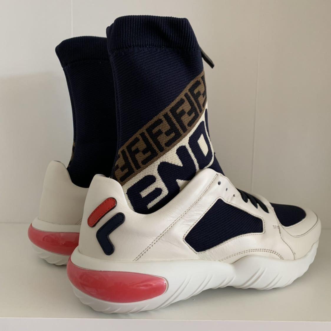 新品未使用 フェンディ×FILA FENDI MANIA メンズ スニーカー size7 直営店購入 イタリア製 正規品 ズッカ FFロゴ_画像3
