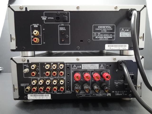 ★ONKYO オンキヨー コンパクトディスクプレイヤー C-733&インテグレーテッドアンプA-933 2点セット 現状販売品_画像2