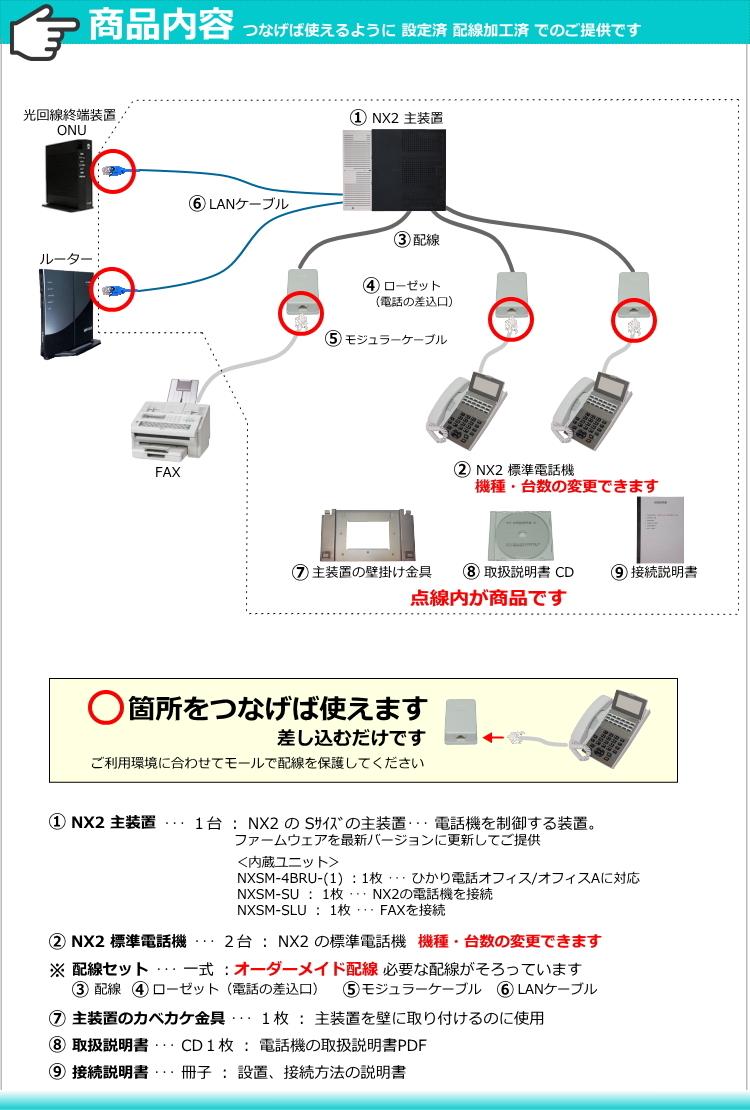 綺麗 NTT ビジネスフォン NXⅡ 電話機2台 ★ 設定済 オーダーメイド配線 ★ NX2 ひかり電話オフィス に対応 ★ αN1 N1 の1世代前の機種_画像5