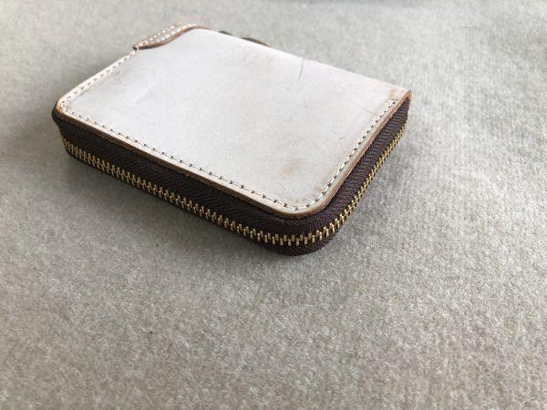 手作りブライドルレザー ラウンドファスナー メンズ 短財布 カードケース コインケース/オレンジ_画像10