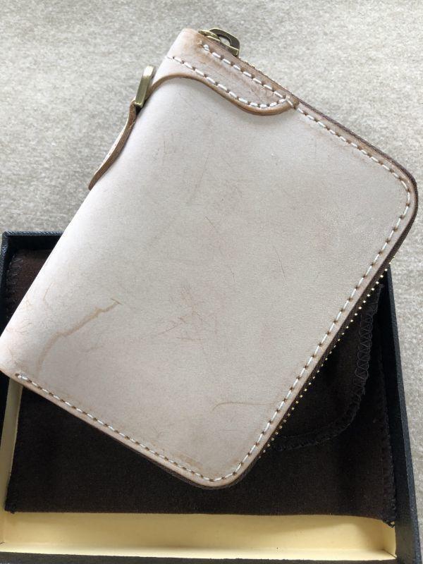 手作りブライドルレザー ラウンドファスナー メンズ 短財布 カードケース コインケース/オレンジ