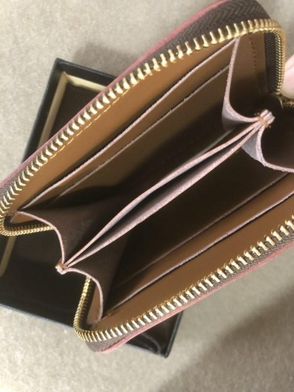 手作りブライドルレザー ラウンドファスナー メンズ 短財布 カードケース コインケース/オレンジ_画像4