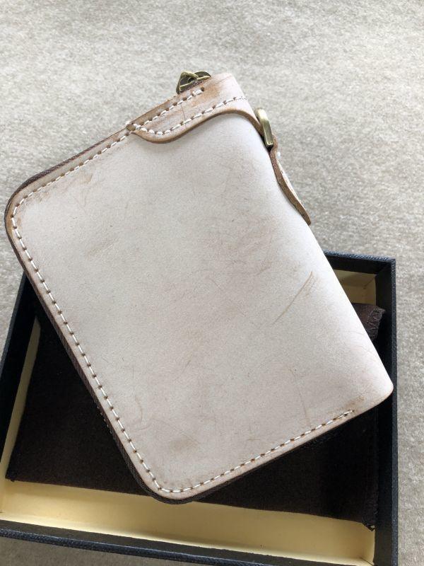 手作りブライドルレザー ラウンドファスナー メンズ 短財布 カードケース コインケース/オレンジ_画像2