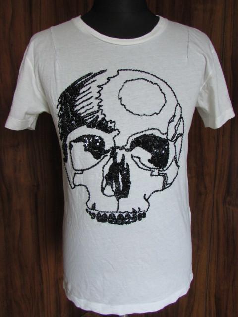 BUDDHIST PUNK ブディスト パンク スパンコール スカル Tシャツ ホワイト 白 サイズM 髑髏 骸骨 ドクロ LHP