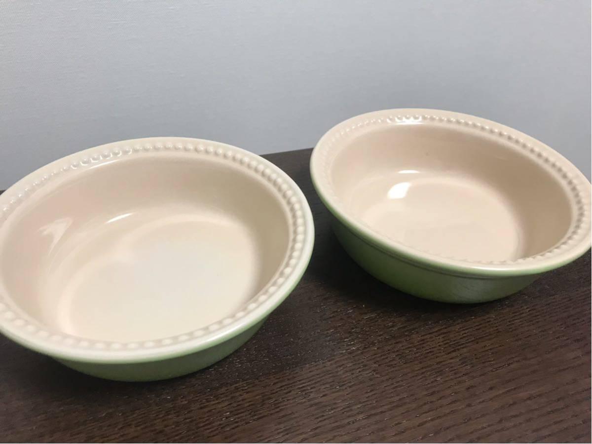 LE CREUSET●ル・クルーゼ●耐熱皿2個セット●パイ皿●グラタン皿●小皿●ボウル●キウイ●ライトグリーン●黄緑●ルクルーゼ