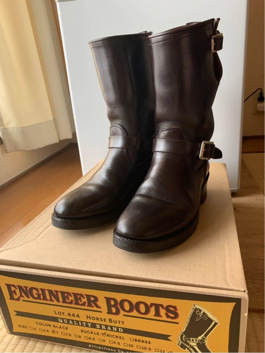 アトラクションズ エンジニア ブーツ サイズ7 茶芯 lot 444 ビルトバック