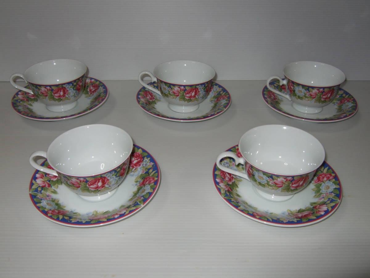 NARUMI CHINA ナルミ チャイナ コーヒー 碗皿 カップ&ソーサー 5客 花柄 未使用_画像1