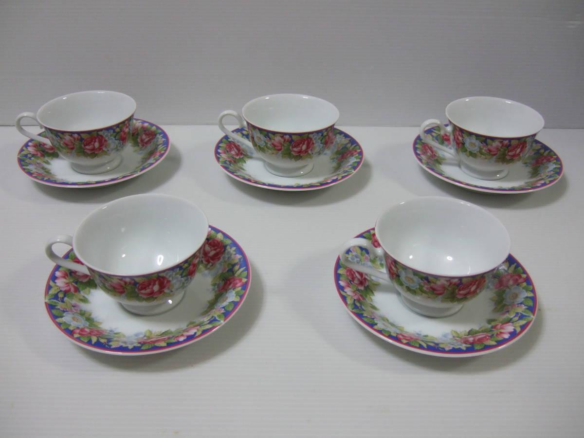 NARUMI CHINA ナルミ チャイナ コーヒー 碗皿 カップ&ソーサー 5客 花柄 未使用_画像2