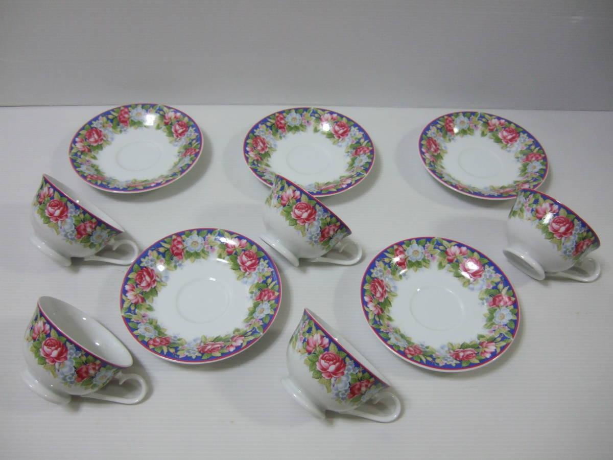 NARUMI CHINA ナルミ チャイナ コーヒー 碗皿 カップ&ソーサー 5客 花柄 未使用_画像3