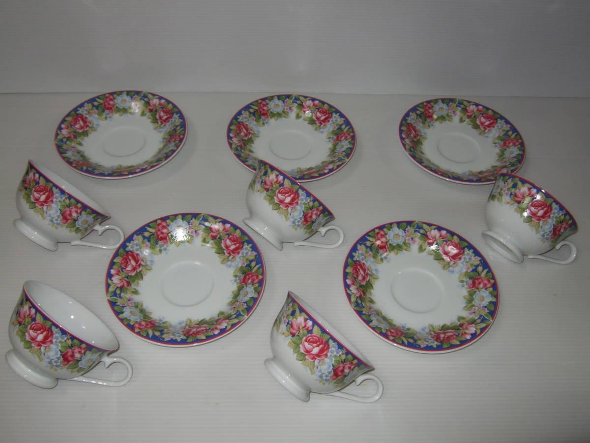 NARUMI CHINA ナルミ チャイナ コーヒー 碗皿 カップ&ソーサー 5客 花柄 未使用_画像4