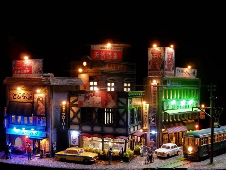 ◆1/150ジオラマ【昭和の情景】賑わう繁華街 LEDケース付◆ _画像6