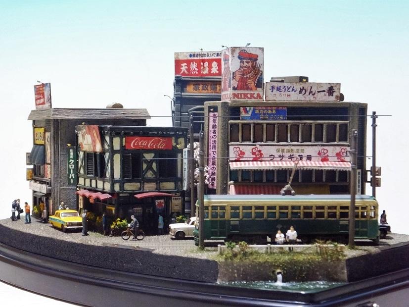 ◆1/150ジオラマ【昭和の情景】賑わう繁華街 LEDケース付◆ _画像9